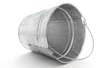 galvanized metal pail tipped on side